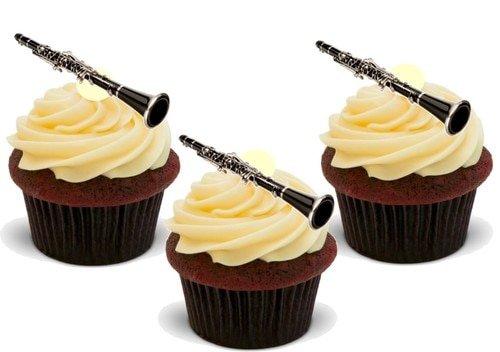 Klarinette - 12 essbare hochwertige stehende Waffeln Karte Kuchen Toppers Dekorationen, Clarinet - 12 Edible Stand Up Premium Wafer Card Cake Toppers Decorations