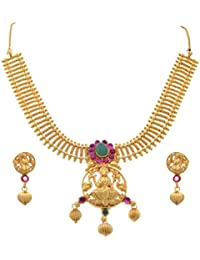 JFL - Traditional Ethnic One Gram Gold Plated Temple Laxmi Goddess Pink & Green Stone Designer Necklace Set For...