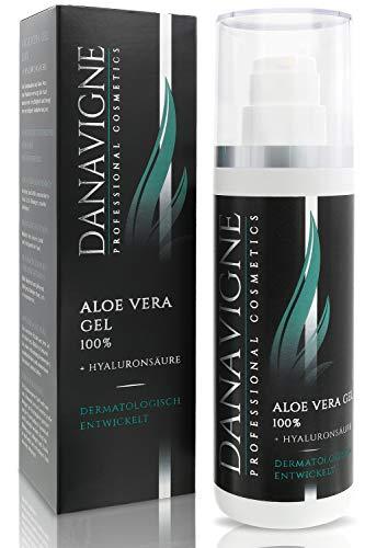 DANAVIGNE Aloe Vera Gel mit Hyaluron - Dermatologische Hautpflege für Gesicht & Körper - Straffendes, erfrischendes Bodylotion Gel -1er Pack (200ml) -