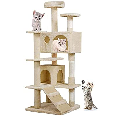 Blackpoolal Cat Kitten Scratching Post Tree with Rope and Hammock Scratches Bed Tree Climbing Toy Activity Center Pets Play Tower House Home Decorative Fuiniture