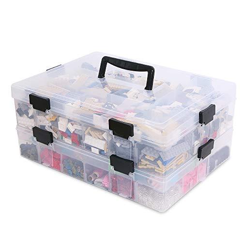 BaiNa 4-Etage Kleinteile Sortierbox Baby Bügelperlen Bausteine Backen Düse Aufbewahrungsbox mit ein Deckel und Griff, Großes Fassungsvermögen Wasserdichte Transparente Scrapbooking Spielzeugkiste