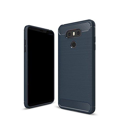EKINHUI Case Cover Dünn und leichtgewichtig gebürstet Carbon Fiber robuste Rüstung Back Cover Stoßstange Fall Shockproof Drop Resistance Shell Cover für LG G6 ( Color : Red ) Blue