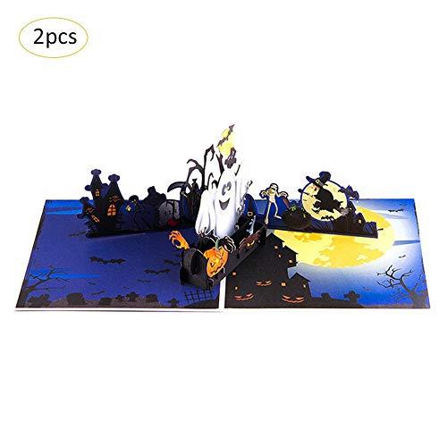 Blue-Yan 2 Sätze 3D Halloween Pop-up Grußkarte Ghost Kürbis-Muster Handgemachte Karte mit Umschlag für Halloween Motto Party, 5,9 x 5,9 Zoll