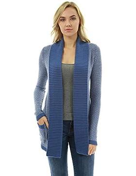 PattyBoutik Mujer Frente Abierto suéter Chaqueta de Punto Marled