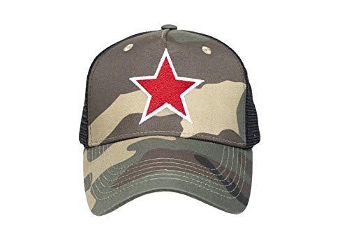 Trucker Cap Camouflage Star Baseball Kappe Mütze Camo Snapback OneSize einstellbar LA Los Angeles US Style Einheitsgröße Tarn Army USA Herren Damen Designer California Fashion RED Star