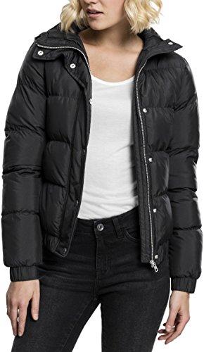 Urban Classics Damen Winterjacke Ladies Hooded Puffer Jacket, gefütterte Jacke für Herbst und Winter mit abnehmbarer Kapuze, Daunenjacke - Farbe black, Größe XS