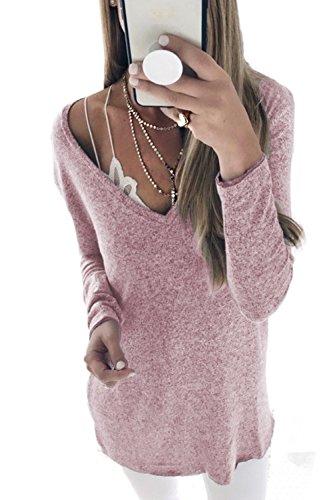 YACUN Le Donne A Maniche Lunghe Maglietta Al Massimo Pullover Occasionale Pink