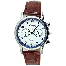 Watch - HUANS Men's Watch Leather Band Analog Quartz Date Business Wrist Watch Colour:Coffee