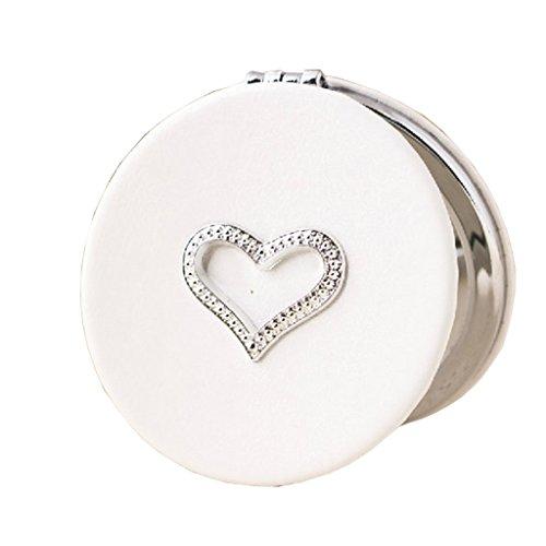 Health UK Mirror- Miroir à double face blanc Beauty Vanity Rond Miroir haute définition Simple pochette à la main Petit miroir cadeau Miroir maquillage portable Miroir miroir Welcome