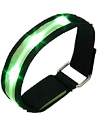 TOOGOO(R)High Visibility Running Cycling Adjustable Reflective LED Flashing Fabric Armband Green