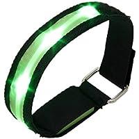 TOOGOO(R)High Visibility Running Cycling Adjustable Reflective LED Flashing Fabric Armband Green