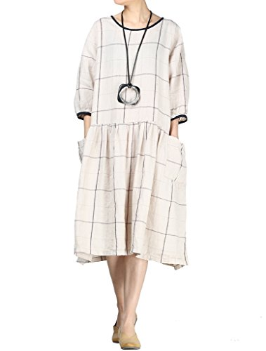 MatchLife Femme Manches Courtes Casual Top Loose Robe Kaki