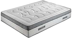 Crown Bedding J88101100 Matelas Royal Spring 800 avec Ressorts Ensachés + Mousse de Gel à Mémoire de Forme Blanc 200 x 90 x 24 cm