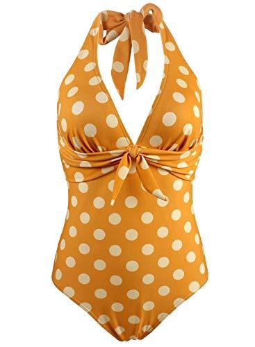Doballa Damen Retro 50er Jahre Polka Dots Print Vintage V-Ausschnitt Halfter EIN Stück Fliege vorne Bikini Badeanzug (L, Goldgelb) -