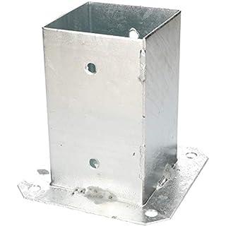 KOTARBAU Aufschraubhülse 120/100 / 90/70 mm Vierkantholzpfosten Pfosten Bodenhülse Zaunträger Hülse Feuerverzinkt Bodenplatte Pfostenträger Anker (90 x 90 mm)
