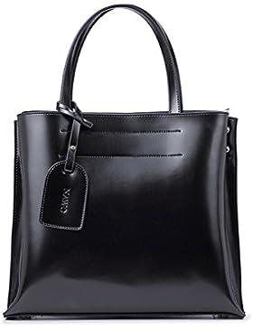 NAWO Damen Ledertasche Handtasche Schultertasche Shopper Umhängetasche Tote Bag Modern