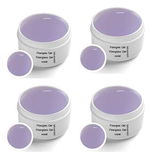4x30 ml LED-UV Fiberglas Gel VIOLET klar - UV-LED Fiberglas 1-Phasengel VIOLET klar 4x30 ml