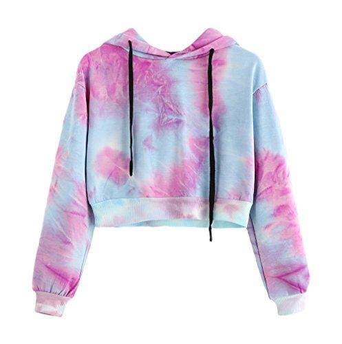 Damen Tumblr Hoodie Elegante Herbst Langarmshirt Aufdruck Pullover Kapuzenpullover Young Mädchen Kleidung Fashion Casual Trend Crop Top Oberteile (Color : Pink, Size : S)