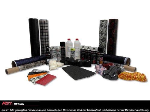 Starterset Start-up Wassertransferdruck WTD Einsteiger Film Folie Hydrographics WTP watertransferprinting (Schwarz Auto-innenraum-spray-farbe)