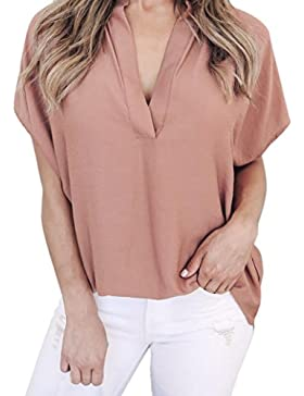 Camisas de mujer, Dragon868 mujer suave verano gasa manga corta casual camisa blusa