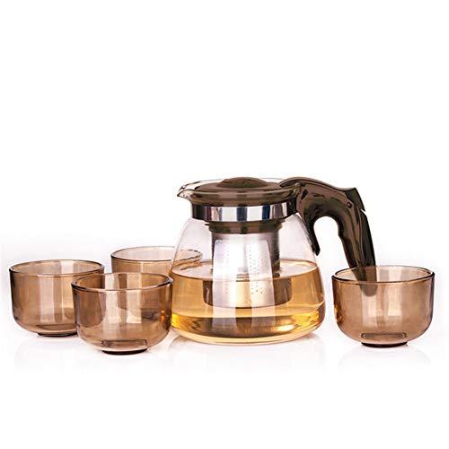 Glas-Teekanne mit Infuser und 4 Tassen, Ling-Long Hitzebeständige Glas-Teekanne mit abnehmbarem Infuser Pot für Tee und Kaffee