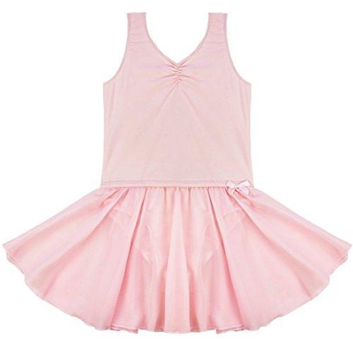 Tiaobug Mädchen Kinder Kleid Ballettkleid Ballettanzug Bodys Gymnastikanzug Turnanzug Trikot Tanzkleid (122-128, Rosa) Tag Tutu-outfit