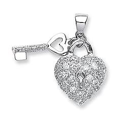 Idea Regalo - JQS in argento Sterling, con zirconia cubica e ciondolo a forma di chiave lucchetto & a forma di cuore, placcata al rodio, peso: 11 g, Argento, colore: argento, cod. JQS-SPD0152-20