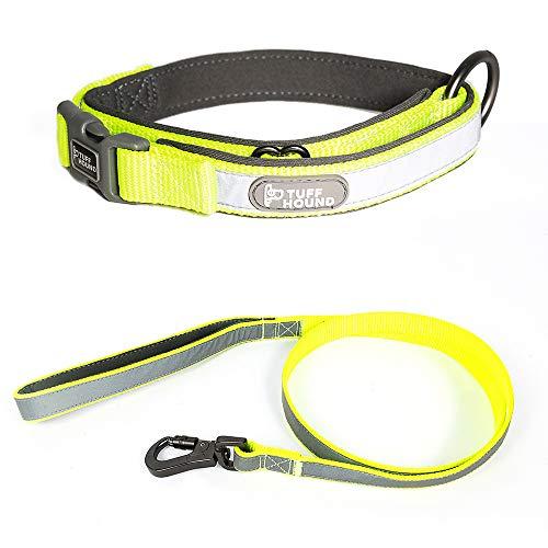 PETEMOO Hundeleine & Halsband, 4-FT-Leine, Reflexstreifen, Multi-Color-Auswahl, zum schnellen Öffnen und Schließen des Hakens an der Haustierleine -