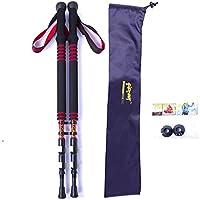 Bastoni da trekking, confezione da 2, carbonio Lock ultraleggero outdoor alpinismo bastone da sci, escursionismo/Walking/da arrampicata, con stick (Rosso, Blu, Giallo), Red