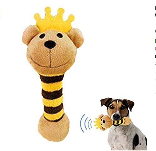 SUxian Prinz Bear Shaped Plüsch Rassel Quietschende Hund Welpen Kauen Spielzeug für Zahnreiniger und interaktives Training