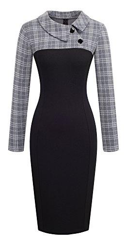 Teile Grid (HOMEYEE Damen Vintage Langarm Elegant Kleid Business Party Cocktailkleid Knielanges Abendkleid B238 (EU 48 (Herstellergroesse: 4XL), Grau + Raster))