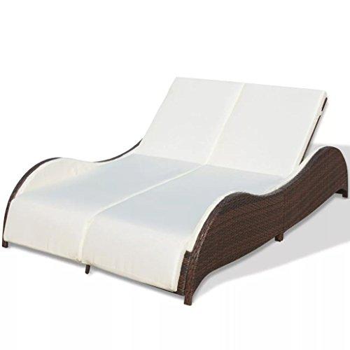 Festnight Doppel-Sonnenliege aus Poly-Rattan Relaxliege Gartenliege Lounge Outdoor-Liege 200 x 132 x 45 cm Braun (Doppel-lounge)