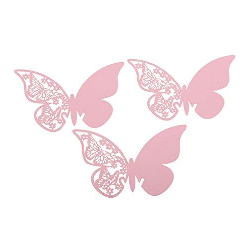 Demiawaking 50 pcs Farfalla Carte di Vetro di Vino Segnaposto Segnabicchiere Decorazione del Vetro per Matrimonio Partito Vacanza Serata di...