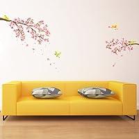 Decowall, DW-1303, fiori di ciliegio e gli uccelli adesivi murali / decalcomanie della parete / Tatuaggi da parete / trasferimenti da parete