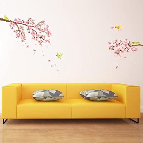 Decowall DW-1303 Cherry Blossoms & Birds Peel and Stick Nursery Wall Stickers Decals