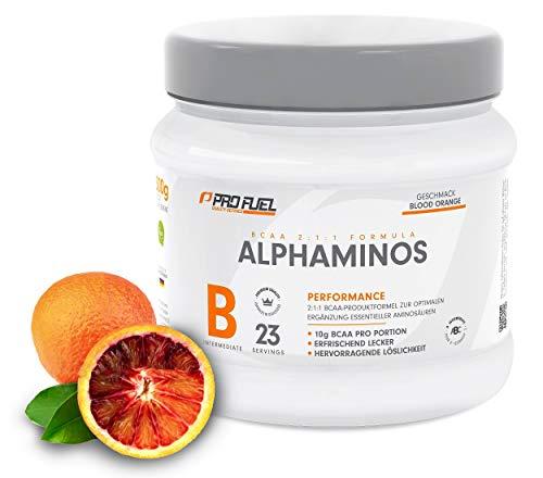ALPHAMINOS | BCAA Pulver 2:1:1 | Das ORIGINAL von ProFuel | Essentielle Aminosäuren | Unfassbar leckerer Geschmack | 300g - BLOOD ORANGE (Blutorange)
