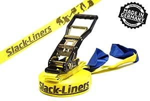 Slack-liners Sangle de slackline classique à cliquet Jaune Largeur 50 mm Longueur 25 m