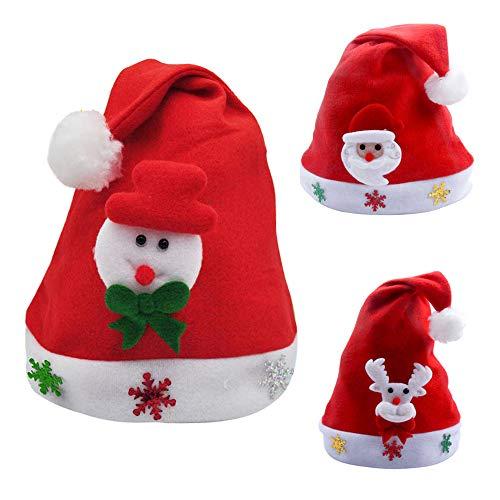 Setsail 3PC Nette Kinder Snowflake Print Weihnachtsfeier Santa Kostüm Santa Hat Red Hat ()