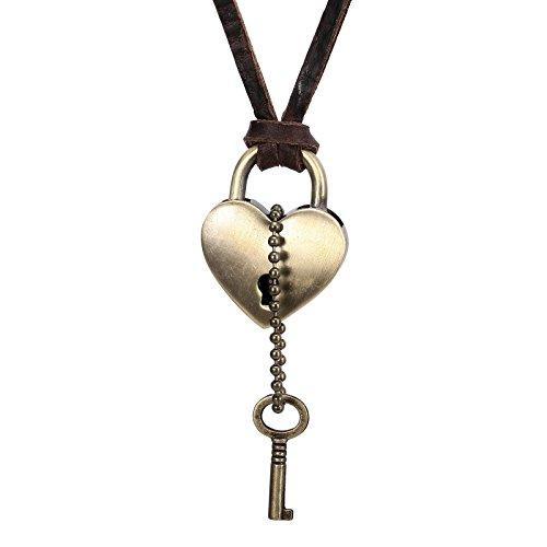 Epinki Unisex Halskette, Edelstahl Einstellbar Vintage Herz Schlüssel Schloss Anhänger Golden Leder Kette Damenkette Leder Kette 82.4CM