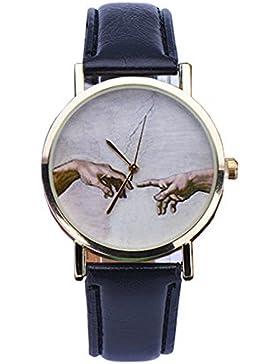 Unisex Armbanduhr die Erschaffung Adams Haende Bibel Analog Quarz gold schwarz