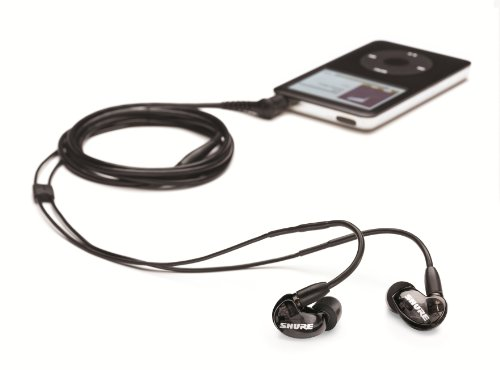 Shure SE215-K-E High-quality Sound Isolating Earphones, warm, detailed sound with enhanced bass, detachable cable, black