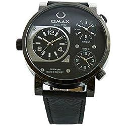 Omax Men's Retro Designer Watch Triple Time Black Leather Strap Black & Silver Dial