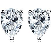 Coppia di Splendido cristallo chiaro taglio a pera goccia diamante finto da basket set argento orecchini Unisex (8,5* 5.5mm