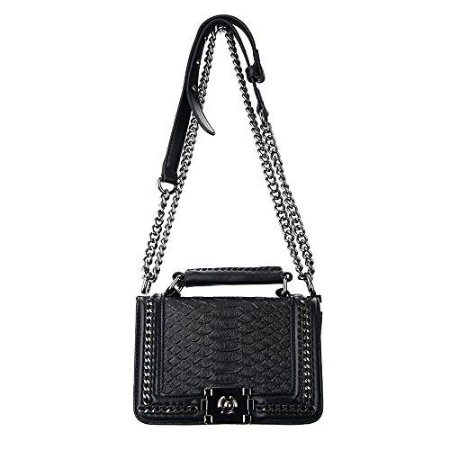 Sheli Kleine Handtaschen Damen Gesteppte Tasche Leder Schwarz Umhängetasche mit Kettenriemen (Gesteppte Taschen Handtaschen)