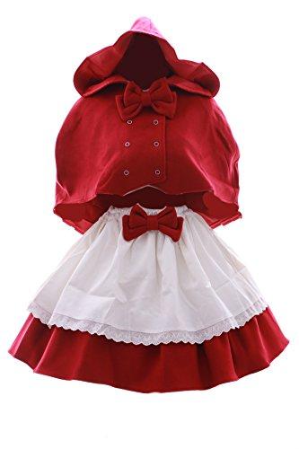JL-605 Rotkäppchen Red Riding Hood rot Cape Rock Gothic Lolita Kostüm Cosplay (Riding Rock Red Hood)
