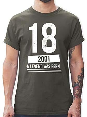 Geburtstag - 18 Geburtstag Jungs 2001 - S - Dunkelgrau - L190 - Herren T-Shirt Rundhals