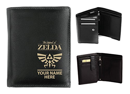 Herren Ersten Gabel (Personalisierte Herren-Geldbörse Leder-Laser markiert mit ihren Namen & Legend of Z Design, schwarz, Origin)