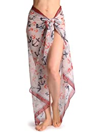 Large Blue & Red Anchors With Red Stripe Trim Unisex Scarf & Beach Sarong - White Designer Scarf