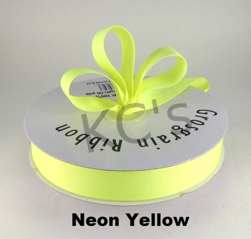 7/8 Neon Yellow Grosgrain Ribbon 50 Yards Solid Color FREE SHIPPING by KCRAFT-R-US