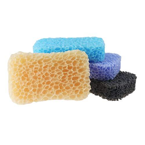 HEALIFTY 4 Stücke Badeschwamm Natürliche Peeling Scrubber Weiche Dusche Schwamm Pads für Männer Frauen (Lila Schwarz Blau Orange) -
